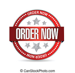 order now seal illustration design over a white background