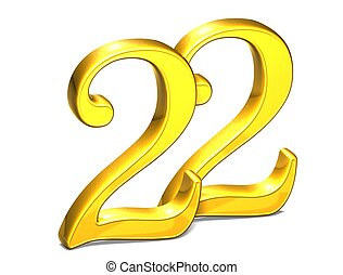 3D Gold Number twenty-two on white background