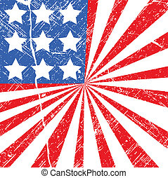 Grunge 4th of July Flag Background - Drawing Art of grunge...