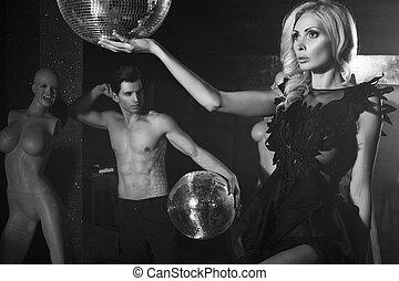 Beautiful couple in club