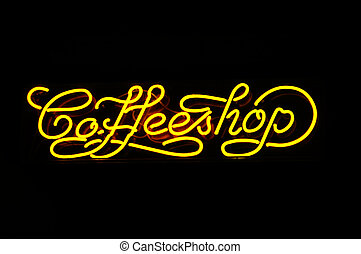 neon sign of a coffeshop - A neon sign of a coffeshop, photo...