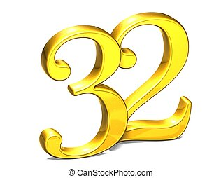 3D Gold Number thirty-two on white background