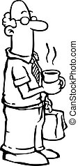 Business man / employee having coffee - Black and white...