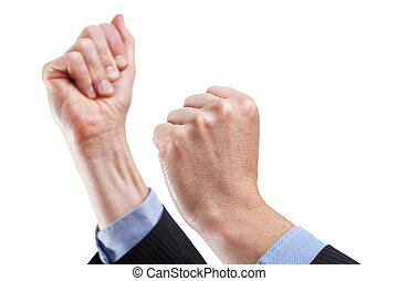 Encouraging gesture - Tight hands ready encouraging, body...