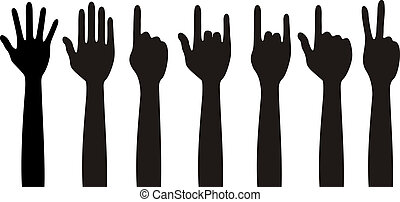 Human different hands, gestures, signals and signs
