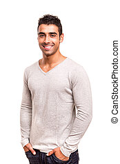 Smiling guy posing over white background