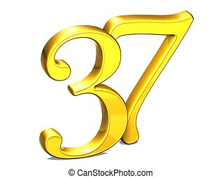 3D Gold Number thirty-seven on white background