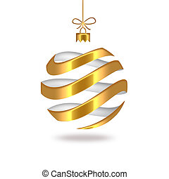 Christmas ball - gold striped Christmas ball