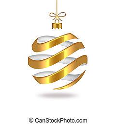 Christmas ball - gold striped Christmas ball