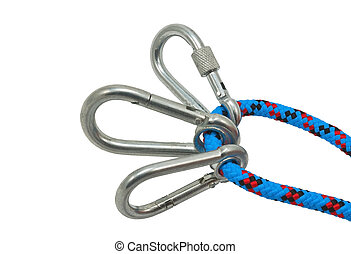 carabiner and rope - Isolated climbing equipment - carabiner...