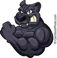 Panther mascot - Strong angry panther mascot. Vector clip...