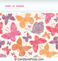 Floral butterflies frame horizontal seamless pattern background