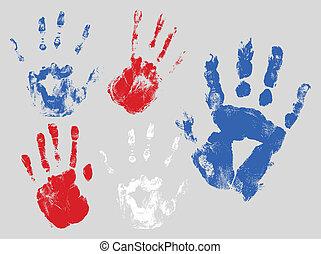 Hand Prints - USA Theme Vector