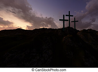 Three Crosses at Sunset - Dramatic sky silhouettes three...