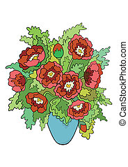 Abstract flowers in vase - Illustration of abstract flowers...
