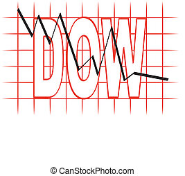 collapsing stock market - grid graph with the dow going down...