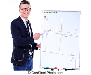 Business - successful business man with a flip chart in a...