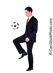Business - business man and a football over a white...