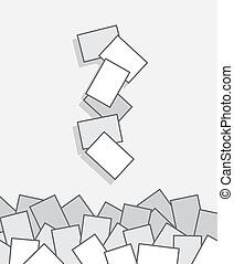 Papers Falling Pile  - Papers falling into large pile