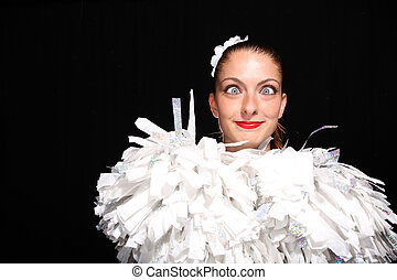 Pom Pom Girl - Portrait of Pom Pom girl on black background