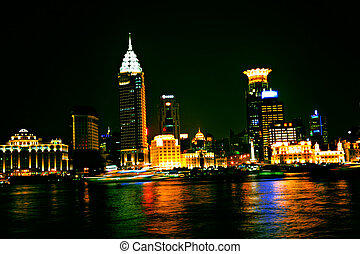 Shanghai night - Nighttime lights of Shanghai port