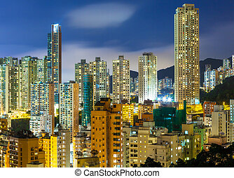 Downtown district in Hong Kong