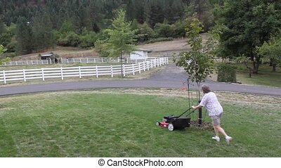 Woman Mowing The Lawn - The woman is mowing the lawn in a...
