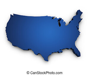 Map Of USA 3d Shape - Shape 3d of USA United States Of...