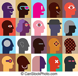 Human Heads - abstract vector illustration. Can be used as...