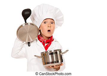 first course - Portrait of a little boy cook holding pan...