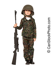 military boy - Portrait of a boy dressed like a soldier...