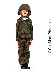 soldier kid - Portrait of a boy dressed like a soldier...