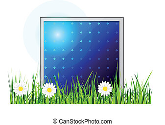 Vector solar panel Icon - Vector icon of solar panel...