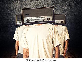Radio heads - People with radio heads in dark vintage room
