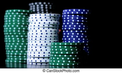 Poker chips stacking.