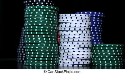 The difference color of casino chips.