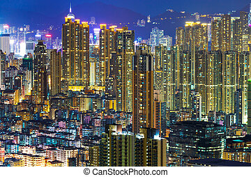Downtown cityscape at night