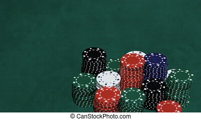Casino Stack of chips and two aces
