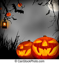halloween concept - Scary halloween concept with pumpkins