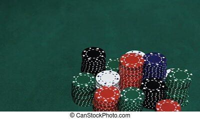 Poker players wins and takes the money.