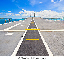Runway at takeoff on battleship and Runway Aircraft Carrier