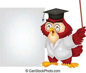 Owl teacher cartoon with blank sign
