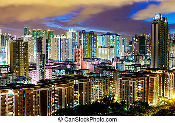 Cityscape in Hong Kong at night