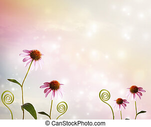 Echinacea and plant tendrils on fantasy pastel pink colored...