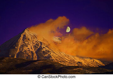 Timpanogos Moonrise - Half moon rising over Timapnogos...