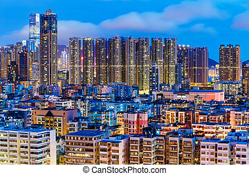 Kowloon district at night