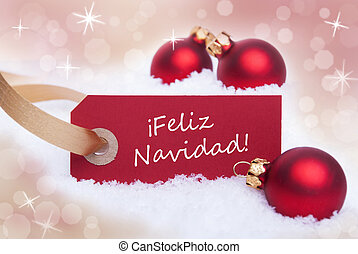 Red Label With Feliz Navidad - A Red Christmas Label with...