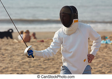 Fencing on the beach