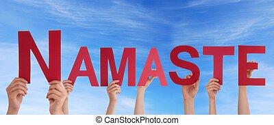 Namaste, cielo, tenencia, gente