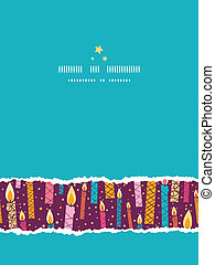 Vector colorful birthday candles vertical torn seamless pattern background